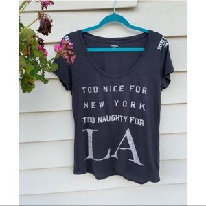 EXPRESS NEW YORK LA BLING GRAY T-SHIRT